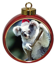 Koala Bear Ceramic Red Drum Christmas Ornament
