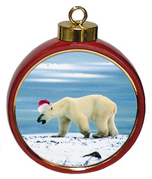 Polar Bear Ceramic Red Drum Christmas Ornament