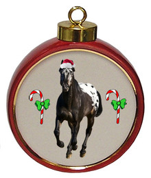 Appaloosa Ceramic Red Drum Christmas Ornament