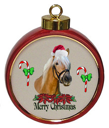 Haflinger Ceramic Red Drum Christmas Ornament