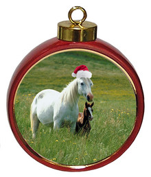 Horse Ceramic Red Drum Christmas Ornament
