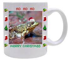 Green Frog Christmas Mug