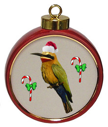 Bee Eater Ceramic Red Drum Christmas Ornament