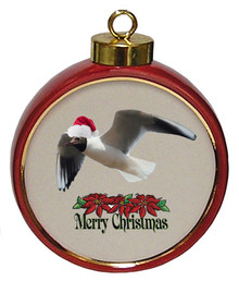 Black Headed Gull Ceramic Red Drum Christmas Ornament
