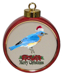 Bluebird Ceramic Red Drum Christmas Ornament