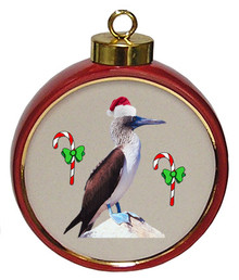 Blue Footed Booby Ceramic Red Drum Christmas Ornament