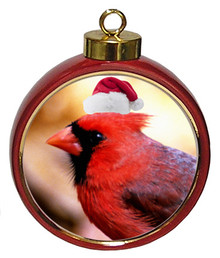 Cardinal Ceramic Red Drum Christmas Ornament