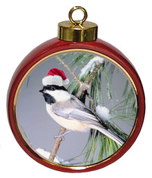 Chickadee Ceramic Red Drum Christmas Ornament