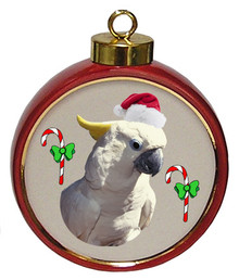 Cockatoo Ceramic Red Drum Christmas Ornament