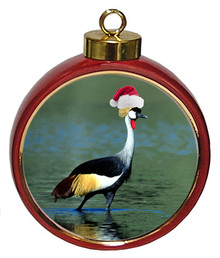Crowned Crane Ceramic Red Drum Christmas Ornament