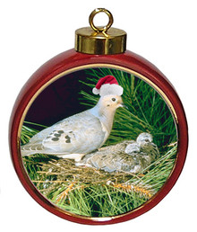 Dove Ceramic Red Drum Christmas Ornament