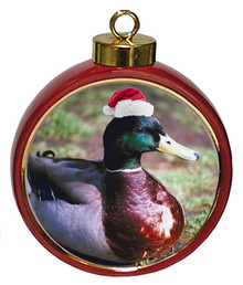 Duck Ceramic Red Drum Christmas Ornament