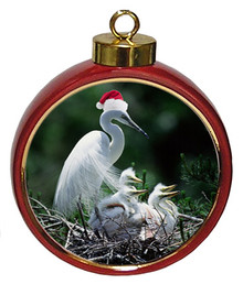 Egret Ceramic Red Drum Christmas Ornament