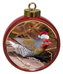 Finch Ceramic Red Drum Christmas Ornament