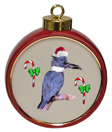 Belted Kingfisher Ceramic Red Drum Christmas Ornament