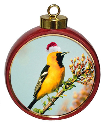 Oriole Ceramic Red Drum Christmas Ornament