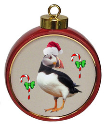 Atlantic Puffin Ceramic Red Drum Christmas Ornament