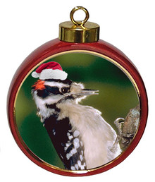 Downey Woodpecker Ceramic Red Drum Christmas Ornament