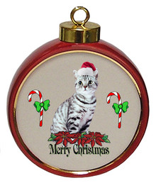 American Shorthair Cat Ceramic Red Drum Christmas Ornament