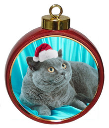 British Shorthair Cat Ceramic Red Drum Christmas Ornament