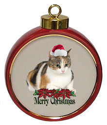 Calico Cat Ceramic Red Drum Christmas Ornament