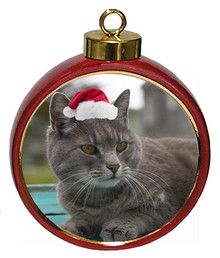 Cat Ceramic Red Drum Christmas Ornament