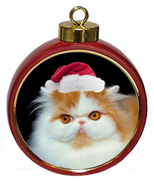 Persian Cat Ceramic Red Drum Christmas Ornament