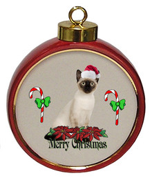 Siamese Cat Ceramic Red Drum Christmas Ornament