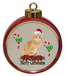 Tabby Cat Ceramic Red Drum Christmas Ornament
