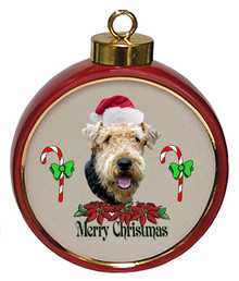 Airedale Ceramic Red Drum Christmas Ornament