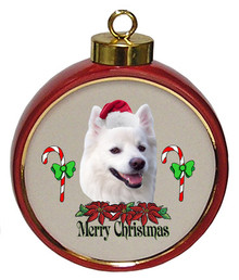 American Eskimo Dog Ceramic Red Drum Christmas Ornament