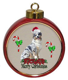 Australian Shepherd Ceramic Red Drum Christmas Ornament