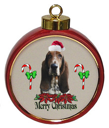 Basset Hound Ceramic Red Drum Christmas Ornament