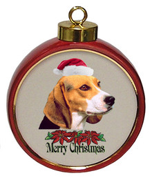 Beagle Ceramic Red Drum Christmas Ornament