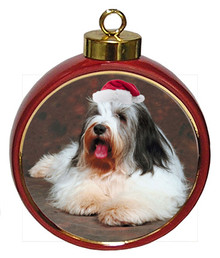 Bearded Collie Ceramic Red Drum Christmas Ornament