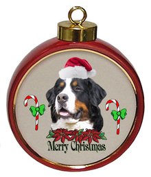 Bernese Mountain Dog Ceramic Red Drum Christmas Ornament