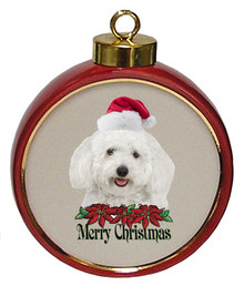 Bichon Ceramic Red Drum Christmas Ornament