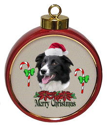 Border Collie Ceramic Red Drum Christmas Ornament
