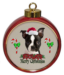 Boston Terrier Ceramic Red Drum Christmas Ornament
