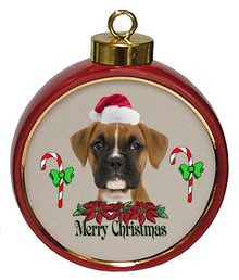 Boxer Ceramic Red Drum Christmas Ornament