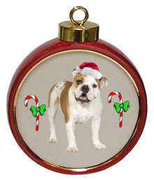 Bulldog Ceramic Red Drum Christmas Ornament