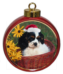 Cavalier King Charles Ceramic Red Drum Christmas Ornament