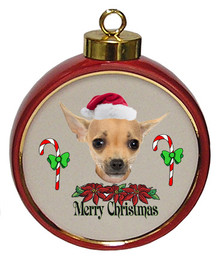 Chihuahua Ceramic Red Drum Christmas Ornament