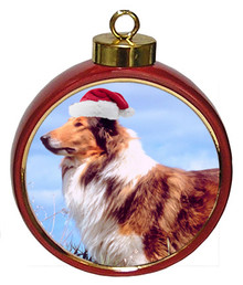 Collie Ceramic Red Drum Christmas Ornament