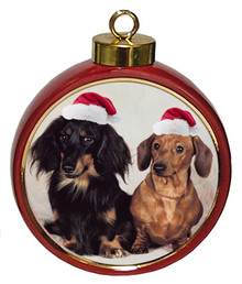 Dachshund Ceramic Red Drum Christmas Ornament