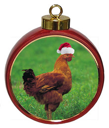 Chicken Ceramic Red Drum Christmas Ornament
