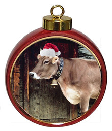 Cow Ceramic Red Drum Christmas Ornament