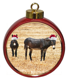 Donkey Ceramic Red Drum Christmas Ornament