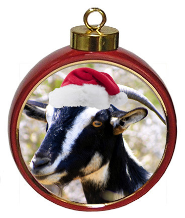 Goat Ceramic Red Drum Christmas Ornament