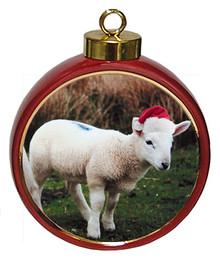 Lamb Ceramic Red Drum Christmas Ornament